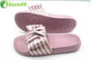 Lady Pink Stripe Satin Fabric Bow EVA Slider Sandal